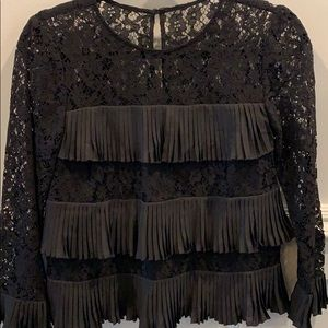 JCrew black lace top with ruffles